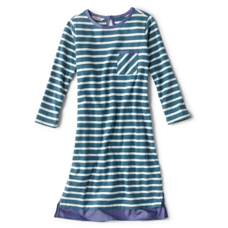 Mixed Media Classic Cotton Striped Dress -  image number 5