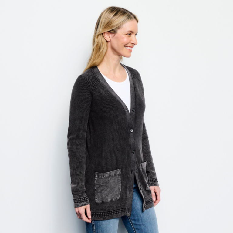 Stitch Detail Mixed Media Cardigan Sweater - CHARCOAL image number 2