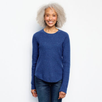 Donegal Crew Textured-Stitch Sweater - MOONLIGHT BLUE image number 1