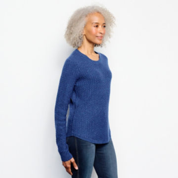 Donegal Crew Textured-Stitch Sweater - MOONLIGHT BLUE image number 2
