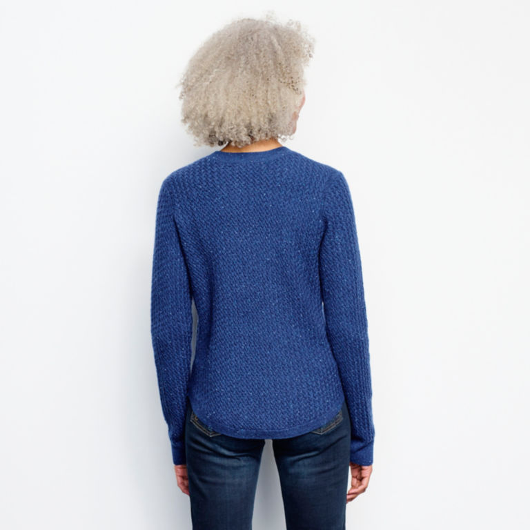 Donegal Crew Textured-Stitch Sweater - MOONLIGHT BLUE image number 3