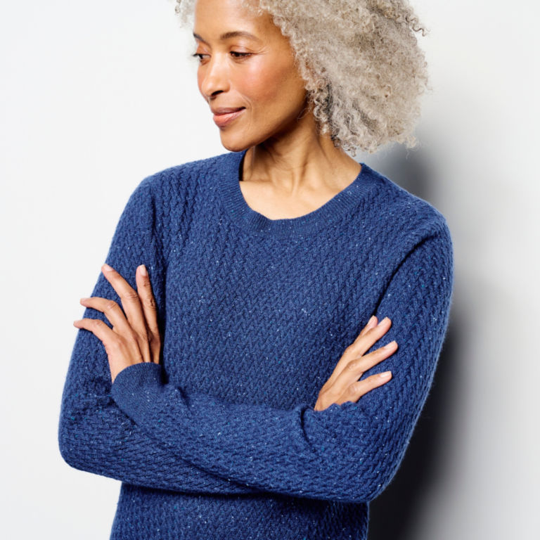 Donegal Crew Textured-Stitch Sweater - MOONLIGHT BLUE image number 4