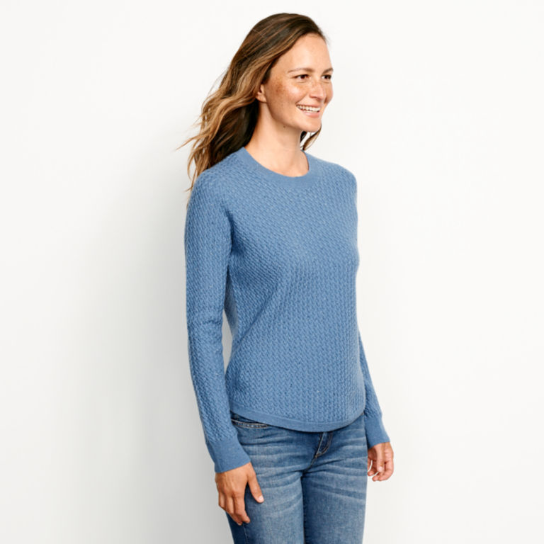 Donegal Crew Textured-Stitch Sweater - DUSTY BLUE image number 2