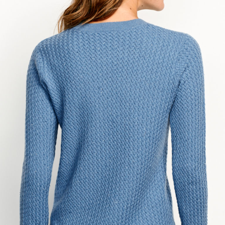 Donegal Crew Textured-Stitch Sweater - DUSTY BLUE image number 3