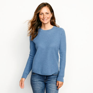 Donegal Crew Textured-Stitch Sweater - DUSTY BLUE image number 1