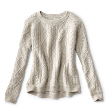laydown of Donegal Cable Crew Sweater
