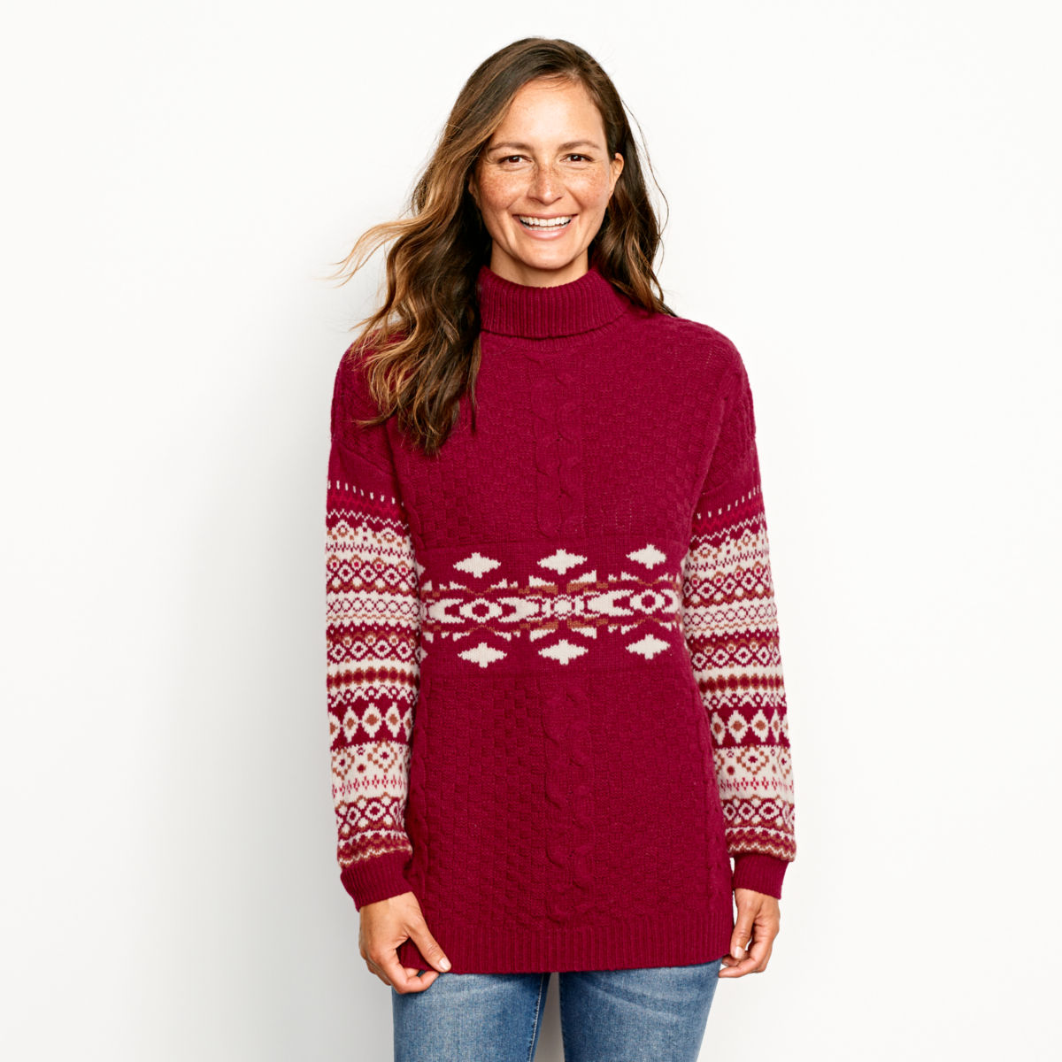 Alpine Fair Isle And Cable Turtleneck Sweater - image number 0