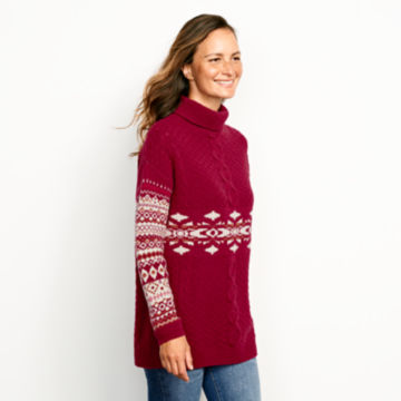 Alpine Fair Isle And Cable Turtleneck Sweater -  image number 1