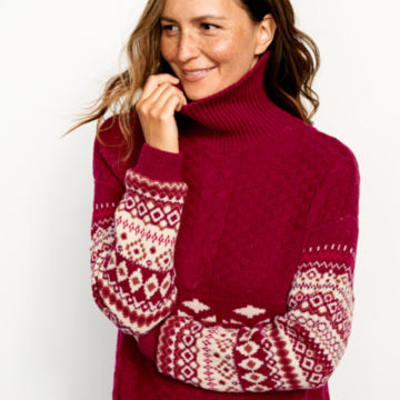 Alpine Fair Isle And Cable Turtleneck Sweater -  image number 3