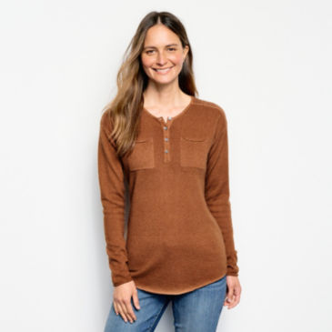 Garment-Dyed Cashmere Henley Sweater -