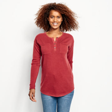 Garment-Dyed Cashmere Henley Sweater -  image number 0