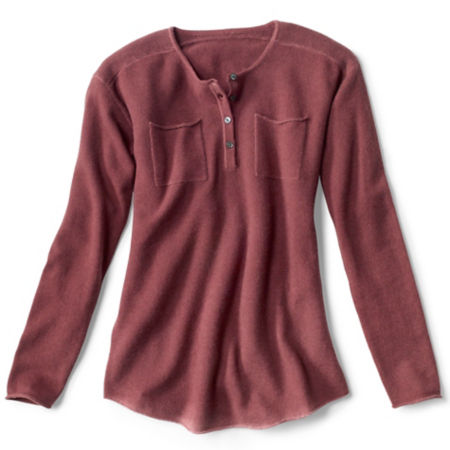 laydown of Garment-Dyed Cashmere Henley Sweater