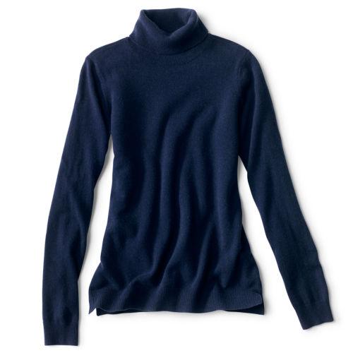 A navy blue cashmere turtleneck