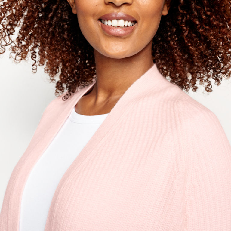 Lightweight Cashmere Cardigan Sweater - ROSE image number 4