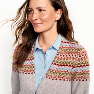 Multicolor Fair Isle Cardigan Sweater - MULTIimage number 4