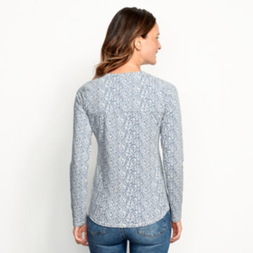 Classic Cotton Printed Henley Tee - BLUE FOG image number 2