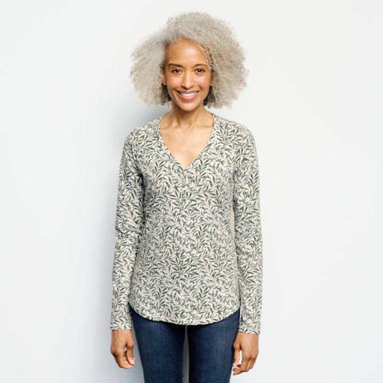 Classic Cotton Printed Henley Tee -  image number 0