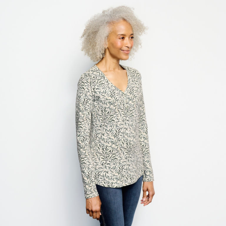 Classic Cotton Printed Henley Tee -  image number 1