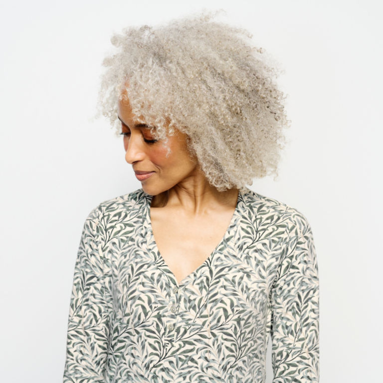 Classic Cotton Printed Henley Tee -  image number 3
