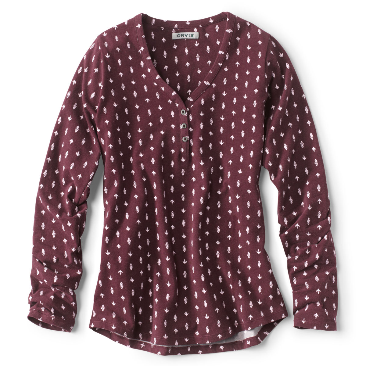 Classic Cotton Printed Henley Tee - WINEimage number 0