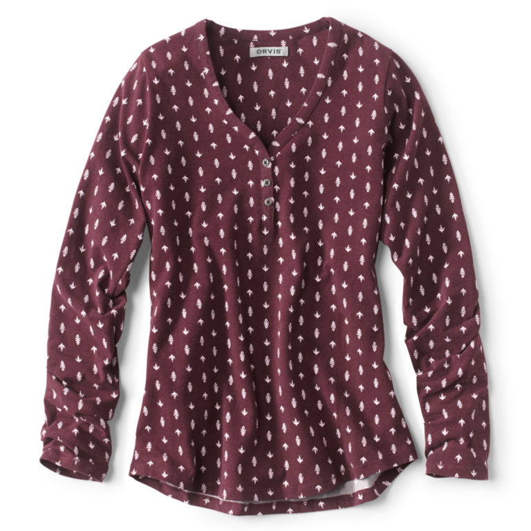 Classic Cotton Printed Henley Tee - WINE image number 0