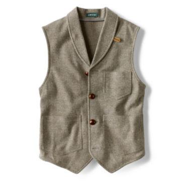 Washed Wool Shawl Collar Vest - LIGHT OLIVE image number 0