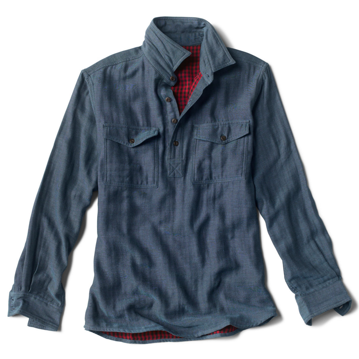 Double-Faced Popover Long-Sleeved Shirt - MEDIUM BLUEimage number 0