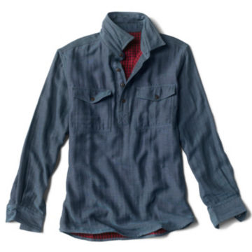 Double-Faced Popover Long-Sleeved Shirt - MEDIUM BLUE image number 0