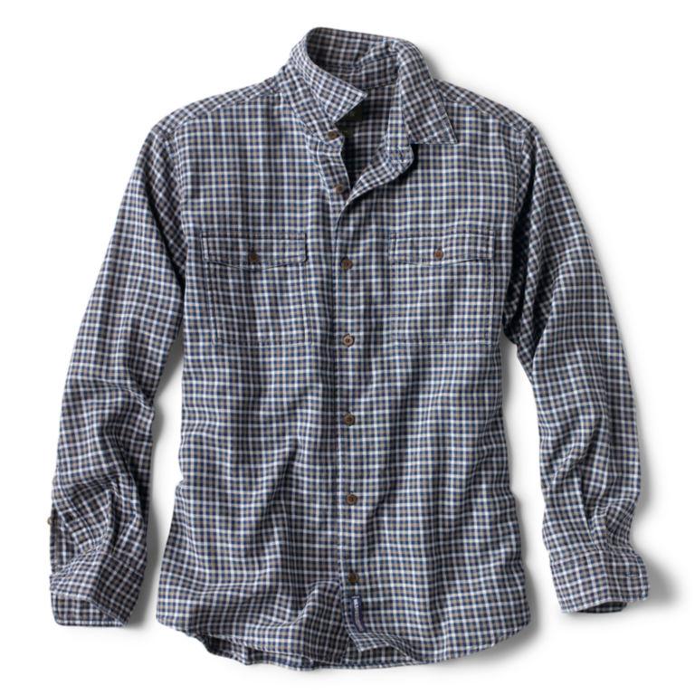 Mélange Indigo Plaid Long-Sleeved Shirt -  image number 0
