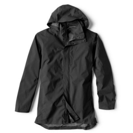 black rain jacket on white background