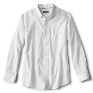 Solid Pinpoint Wrinkle-Free Comfort Stretch Long-Sleeved Shirt - WHITE