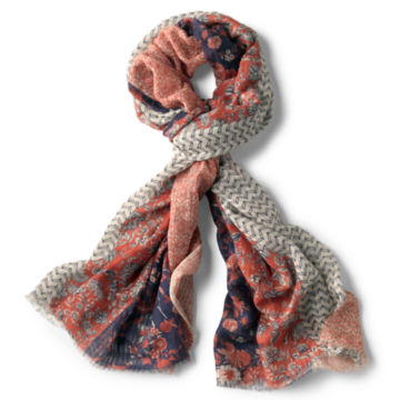 Mixed Floral Printed Oblong Scarf -  image number 0