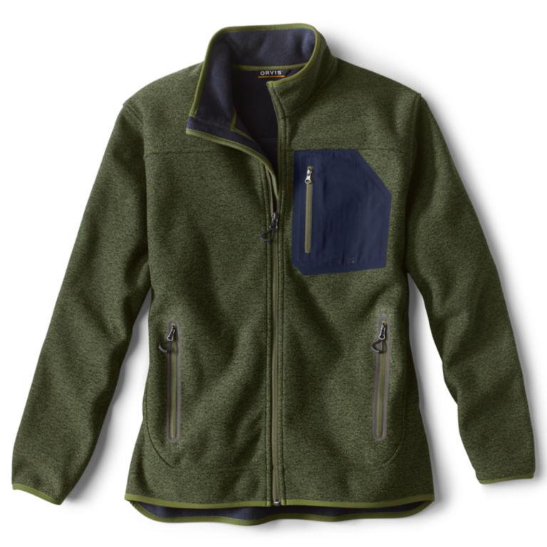 Windproof Sweater Fleece Jacket - RIFLE GREEN image number 0