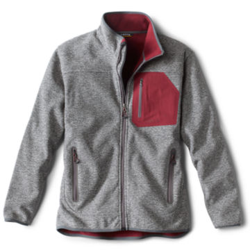 Windproof Sweater Fleece Jacket - GRAY image number 0