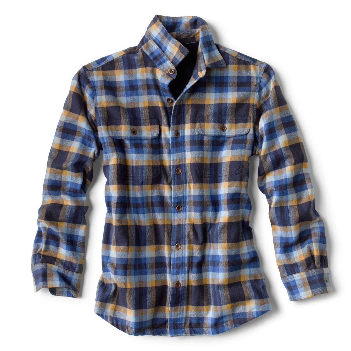 Fleece-Lined Perfect Flannel Long-Sleeved Shirt - BLUE/TANimage number 0