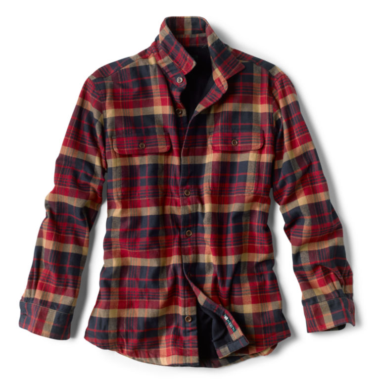 Fleece-Lined Perfect Flannel Long-Sleeved Shirt - NAVY/RED image number 0