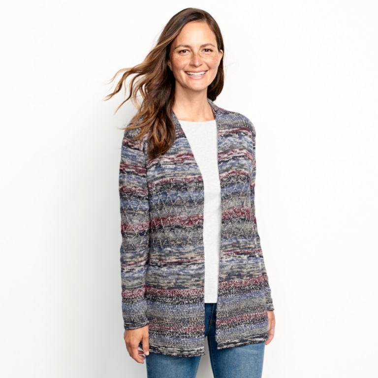 Alpaca-Blend Blanket Cardigan Sweater - BLUE MULTI image number 1