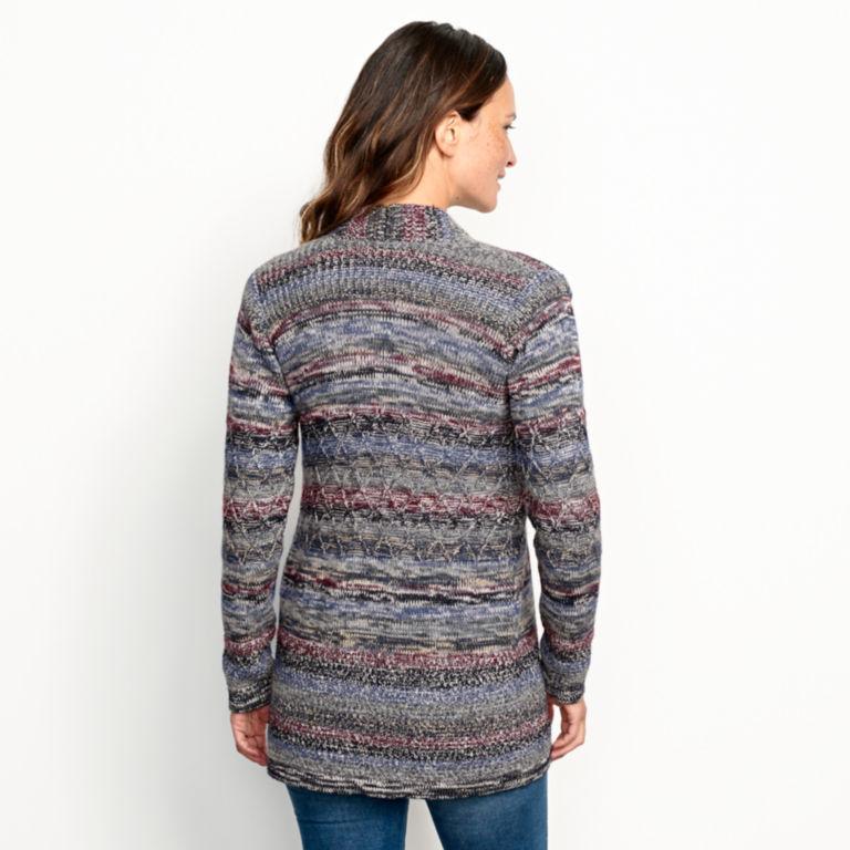 Alpaca-Blend Blanket Cardigan Sweater - BLUE MULTI image number 3