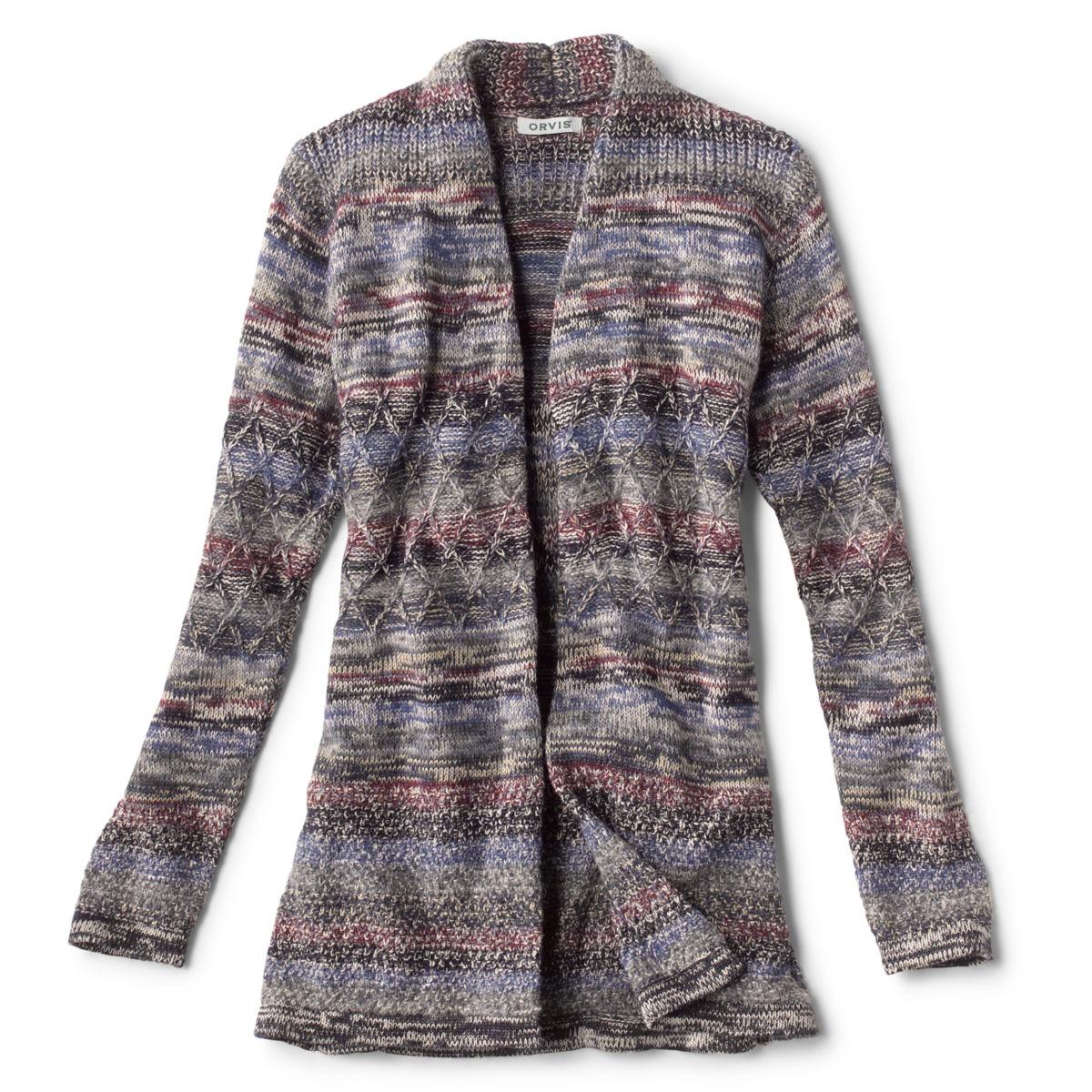 Alpaca-Blend Blanket Cardigan Sweater - BLUE MULTIimage number 0