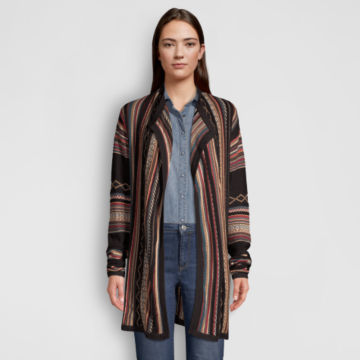 Blanket-Stripe Cardigan Sweater - MULTI STRIPE image number 1