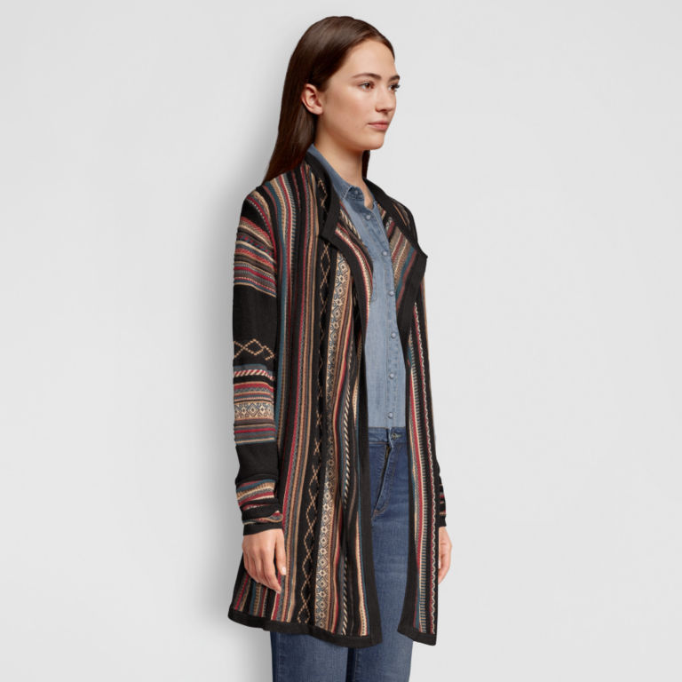 Blanket-Stripe Cardigan Sweater - MULTI STRIPE image number 2