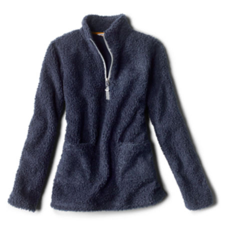 A blue fleece quarter-zip