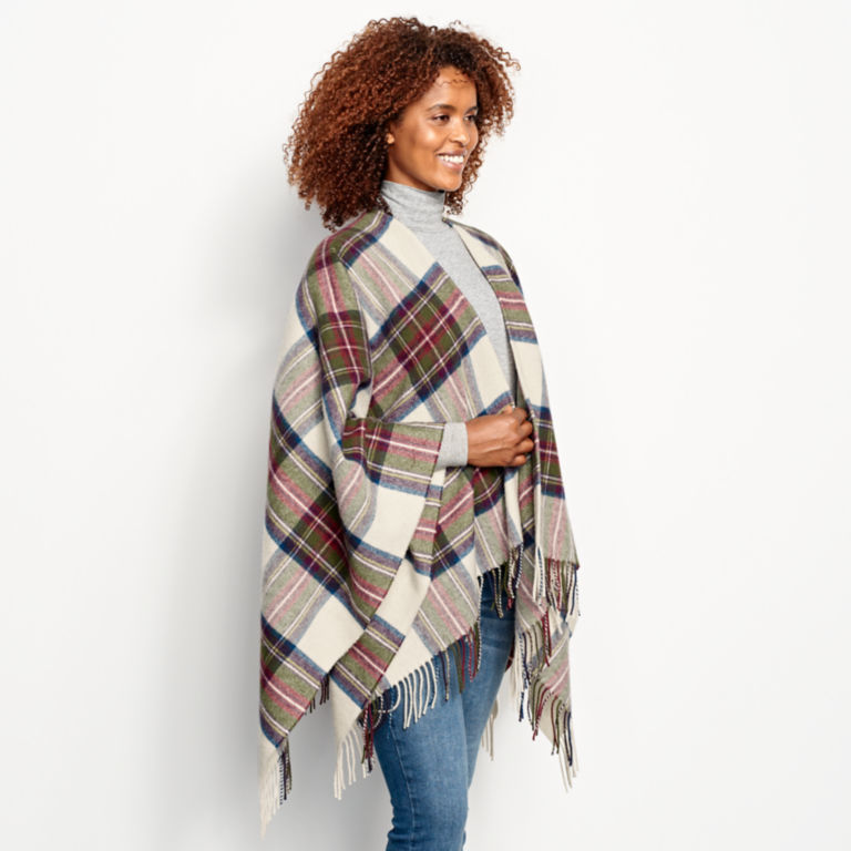 Lambswool Plaid Wrap - RED/GREEN PLAID image number 2