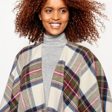Lambswool Plaid Wrap - RED/GREEN PLAID image number 4