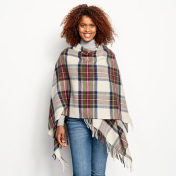 Lambswool Plaid Wrap - RED/GREEN PLAID image number 5