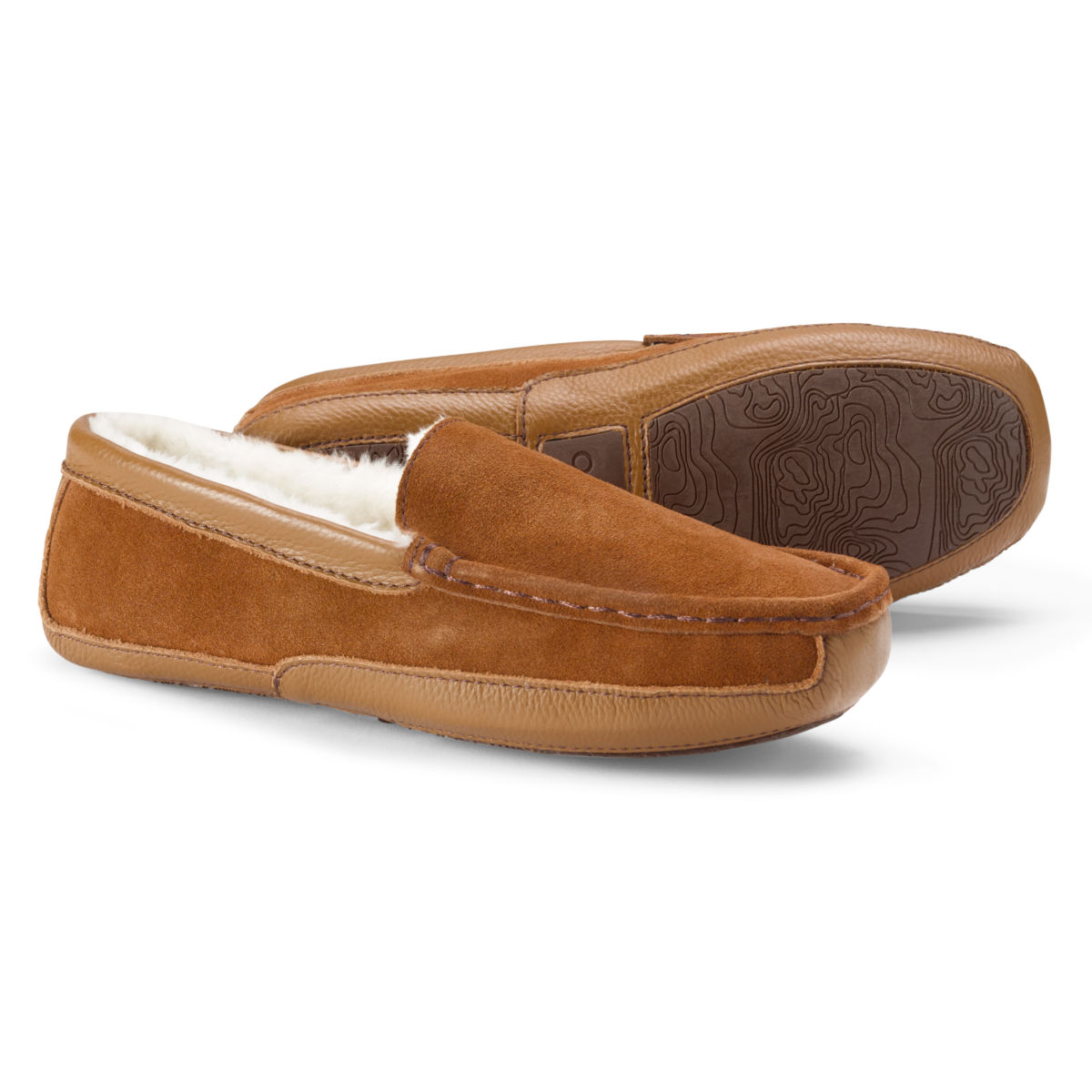 Suede & Shearling Slippers - TANimage number 0