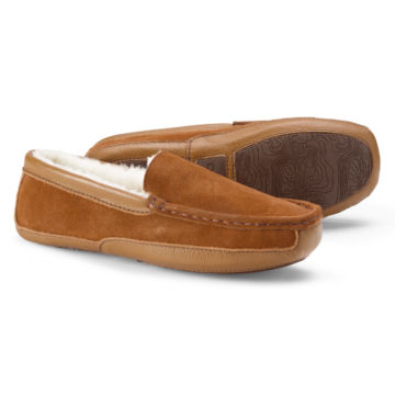 Suede & Shearling Slippers - TAN image number 0