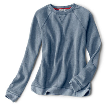Washed Bird's-Eye Crew Sweatshirt - INDIGO image number 5
