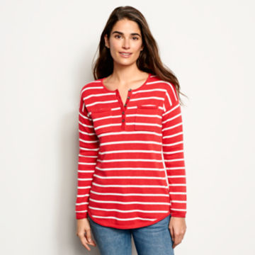 Cotton/Cashmere Striped Henley -  image number 0