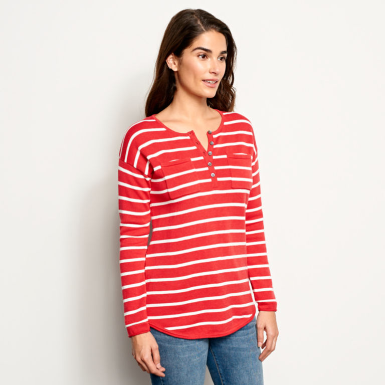 Cotton/Cashmere Striped Henley -  image number 1